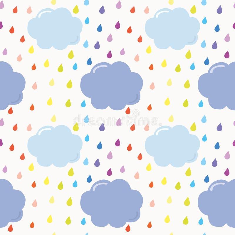 Συρμένο χέρι άνευ ραφής υπόβαθρο σχεδίων με τις ζωηρόχρωμες πτώσεις και τα σύννεφα watercolor για τα παιδιά διανυσματική απεικόνιση