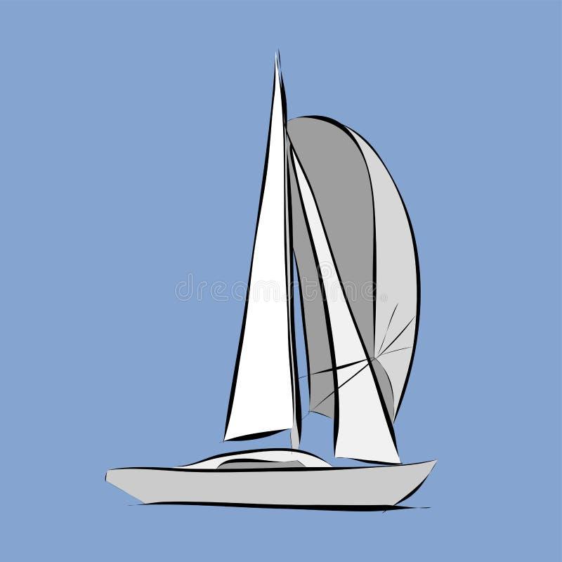 Συρμένο χέρι άσπρο sailboat διανυσματική απεικόνιση