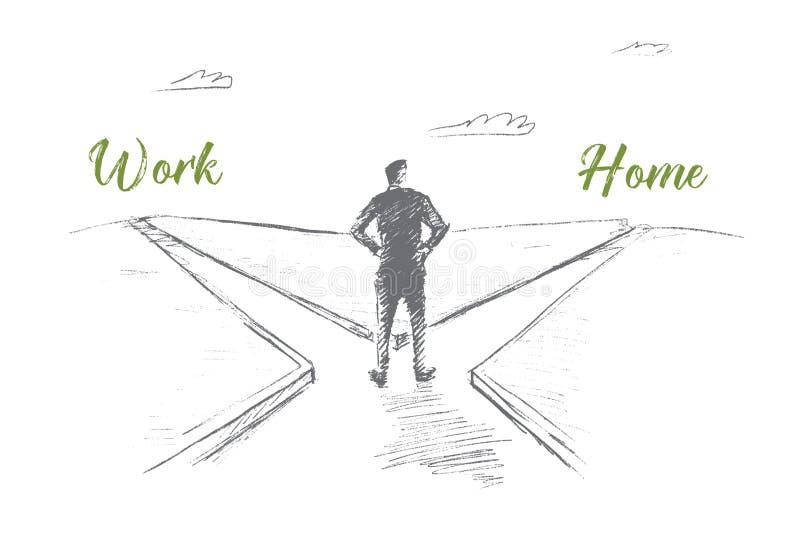 Συρμένο χέρι άτομο που επιλέγει μεταξύ της εργασίας και του σπιτιού ελεύθερη απεικόνιση δικαιώματος