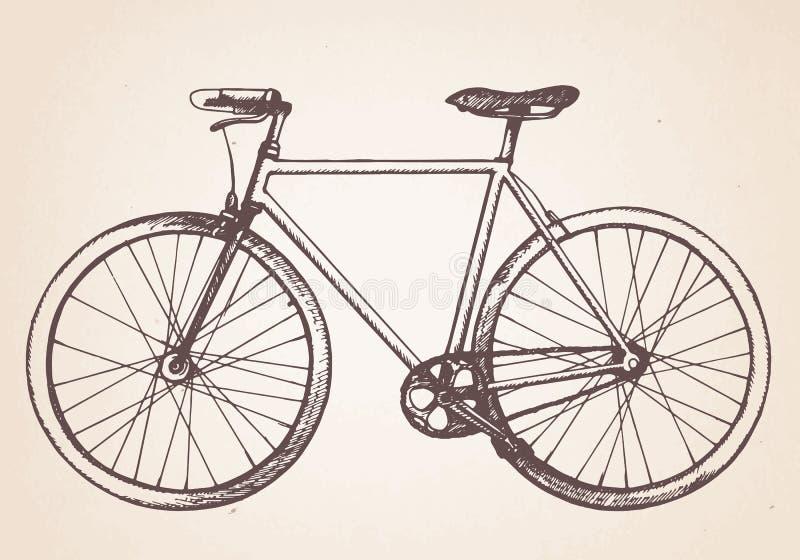Συρμένο χέρι αναδρομικό ποδήλατο διανυσματική απεικόνιση