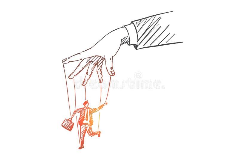 Συρμένο χέρι ανθρώπινο παιχνίδι βραχιόνων με το άτομο ως μαριονέτα απεικόνιση αποθεμάτων
