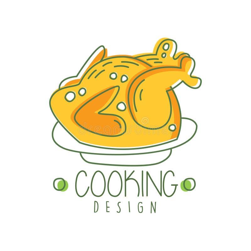 Συρμένο χέρι αρχικό σχέδιο λογότυπων μαγειρέματος με το ψημένο κοτόπουλο σε ένα πιάτο Δημιουργική ετικέτα γραμμών για τις επιλογέ διανυσματική απεικόνιση