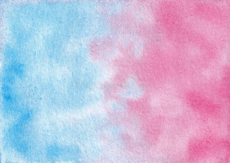 Συρμένο χέρι αφηρημένο μπλε και ρόδινο μικτό καταβρέχοντας υπόβαθρο watercolor απεικόνιση αποθεμάτων