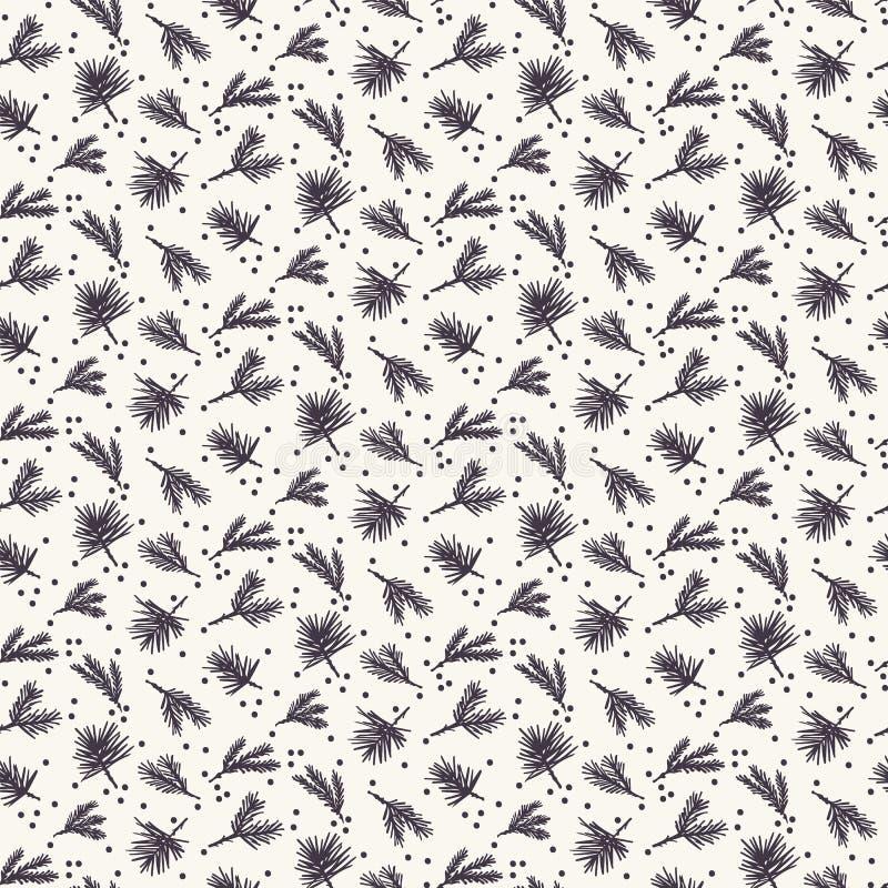 Συρμένο χέρι αφηρημένο σχέδιο φυλλώματος Χριστουγέννων Μικροσκοπικός πεταγμένος κλάδος δέντρων έλατου Άσπρο υπόβαθρο Ecru Χαριτωμ διανυσματική απεικόνιση