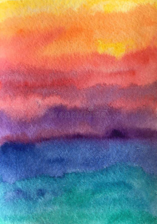 Συρμένο χέρι αφηρημένο υπόβαθρο σύστασης ηλιοβασιλέματος watercolor ζωηρόχρωμο διανυσματική απεικόνιση