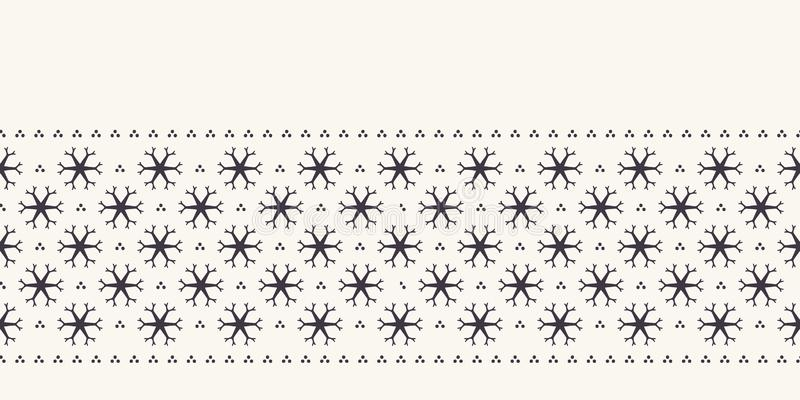 Συρμένο χέρι αφηρημένο χειμερινά snowflakes σχέδιο συνόρων Μοντέρνα αστέρια κρυστάλλου στο άσπρο υπόβαθρο Κομψό απλό έμβλημα διακ ελεύθερη απεικόνιση δικαιώματος