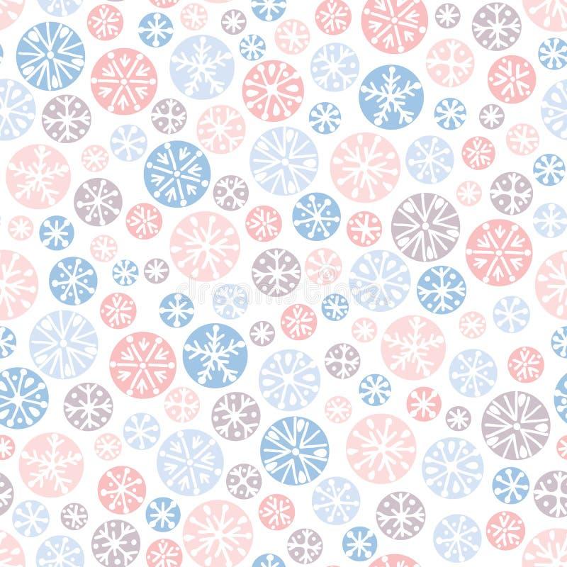 Συρμένο χέρι αφηρημένο snowflakes Χριστουγέννων κρητιδογραφιών διανυσματικό άνευ ραφής υπόβαθρο σχεδίων Χειμερινές διακοπές σκανδ διανυσματική απεικόνιση