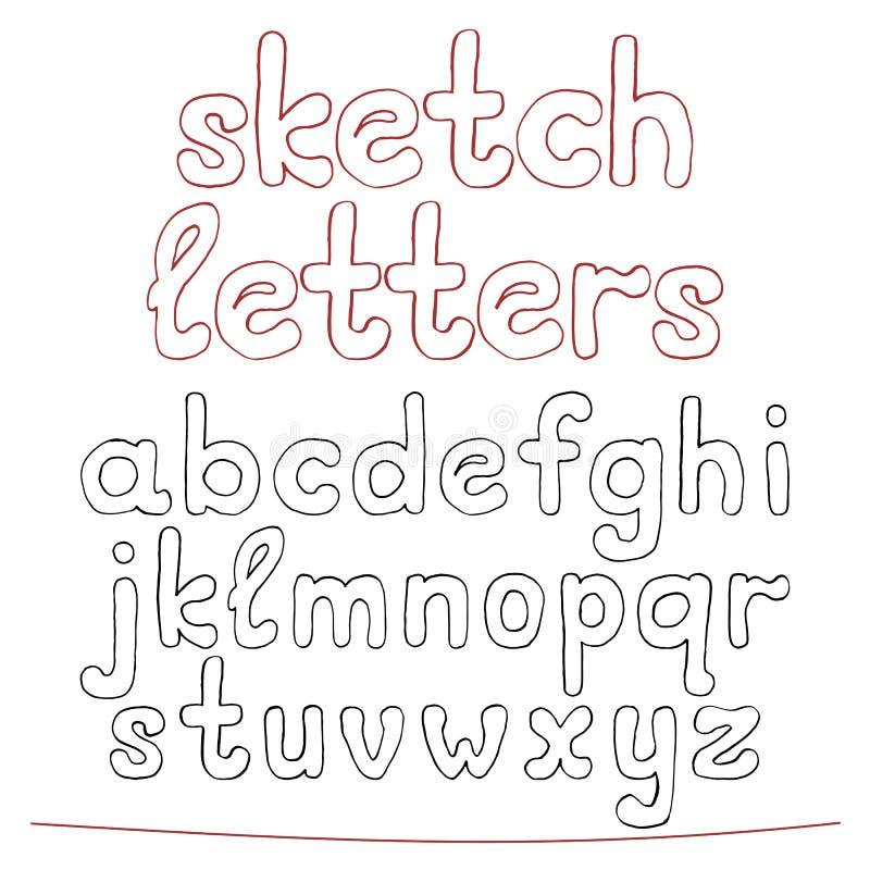 Συρμένο χέρι αλφάβητο σκίτσων διανυσματική απεικόνιση