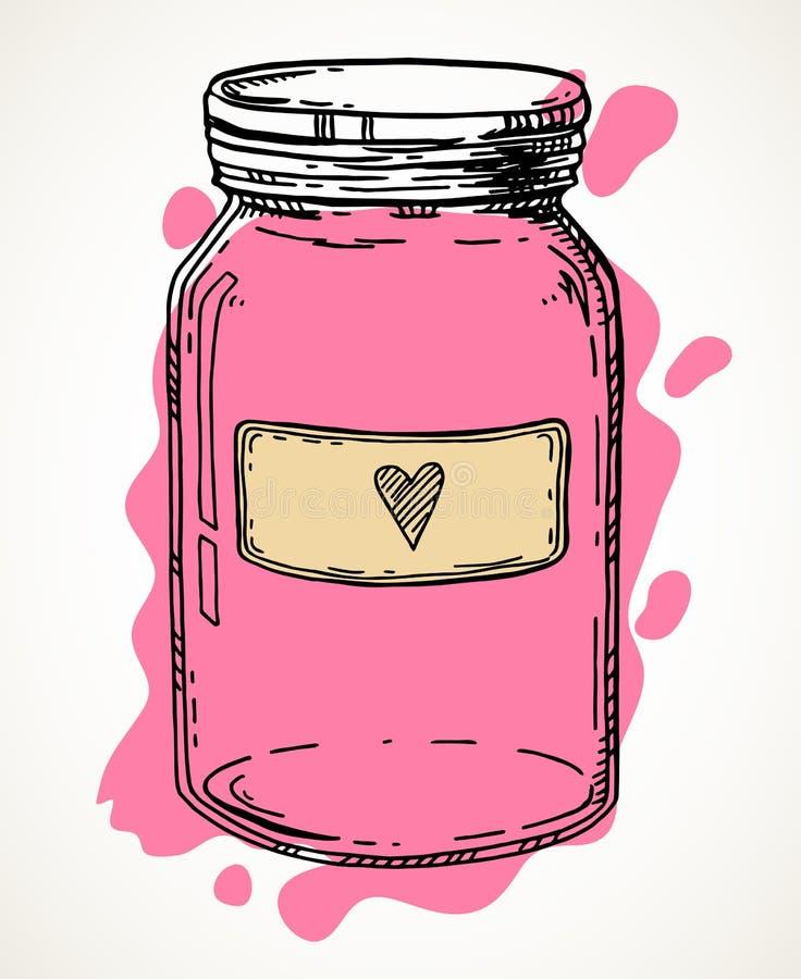 Συρμένο χέρι βάζο αγάπης απεικόνιση αποθεμάτων