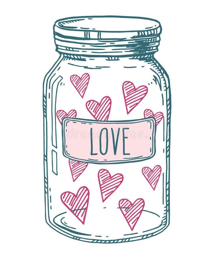 Συρμένο χέρι βάζο αγάπης ελεύθερη απεικόνιση δικαιώματος