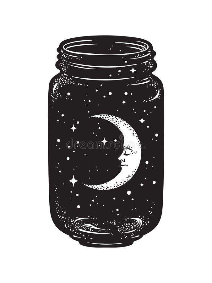 Συρμένο χέρι βάζο επιθυμίας Ημισεληνοειδή φεγγάρι και αστέρια στο βάζο γυαλιού που απομονώνεται ελεύθερη απεικόνιση δικαιώματος