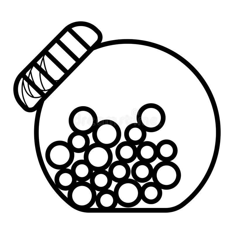 Συρμένο χέρι βάζο καραμελών γυαλιού περιλήψεων doodle διανυσματική απεικόνιση