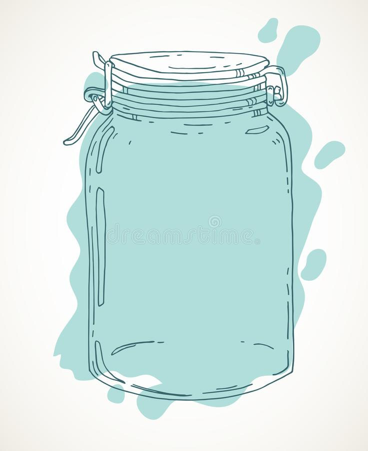 Συρμένο χέρι βάζο με το νερό διανυσματική απεικόνιση