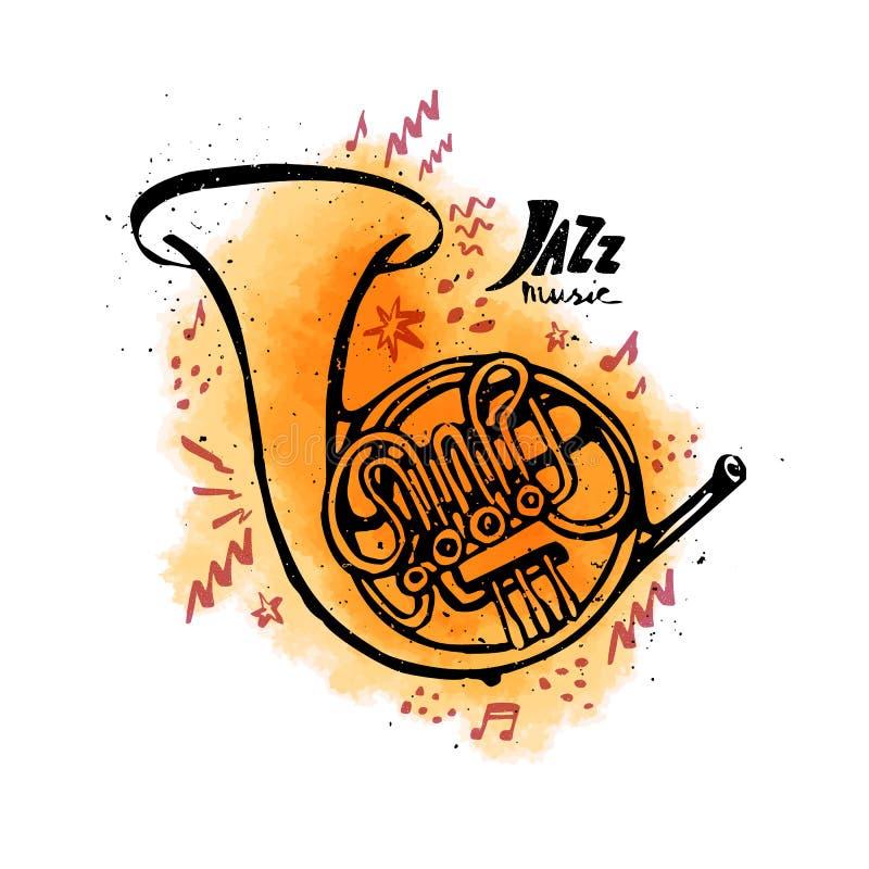 Συρμένο χέρι γαλλικό κέρατο Έννοια μουσικής της Jazz Διανυσματική απεικόνιση ύφους μελανιού με τον πορτοκαλή λεκέ watercolor στο  διανυσματική απεικόνιση
