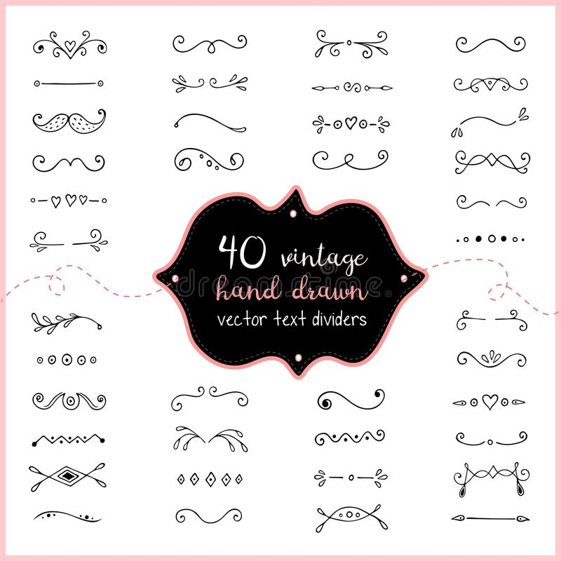 Συρμένο χέρι διάνυσμα διαιρετών κειμένων doodle Τέχνη συνδετήρων γαμήλιων διαιρετών για την πρόσκληση απεικόνιση αποθεμάτων