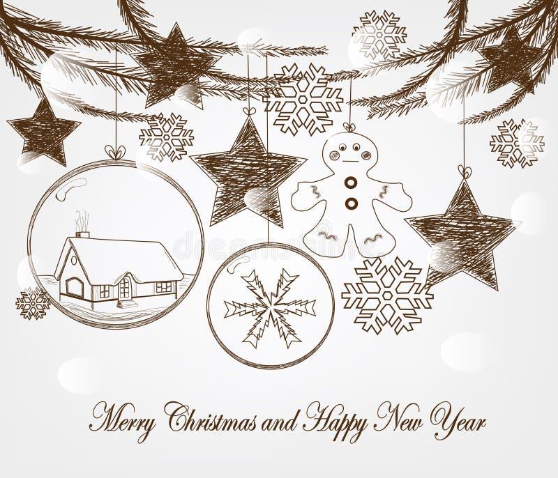 Συρμένο χέρι διάνυσμα Χριστουγέννων ελεύθερη απεικόνιση δικαιώματος