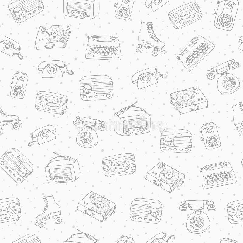 Συρμένο χέρι διανυσματικό αναδρομικό άνευ ραφής σχέδιο με την παλαιά τεχνολογία, radi απεικόνιση αποθεμάτων
