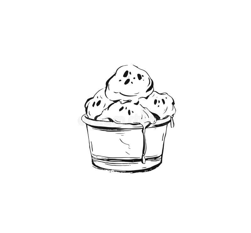 Συρμένο χέρι διανυσματικό αφηρημένο εικονίδιο απεικόνισης σκίτσων μελανιού γραφικό με τις σφαίρες παγωτού στο φλυτζάνι που απομον διανυσματική απεικόνιση