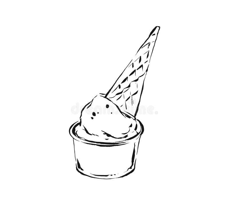 Συρμένο χέρι διανυσματικό αφηρημένο καλλιτεχνικό μαγειρεύοντας σχέδιο απεικόνισης σκίτσων μελανιού του κώνου παγωτού βαφλών που α διανυσματική απεικόνιση