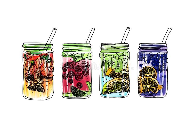 Συρμένο χέρι διανυσματικό ποτό θερινού πάγου με τα εσπεριδοειδή και τα μούρα Λεμόνι και μέντα Σκίτσο νερού Detox Γραμμική απεικόν ελεύθερη απεικόνιση δικαιώματος