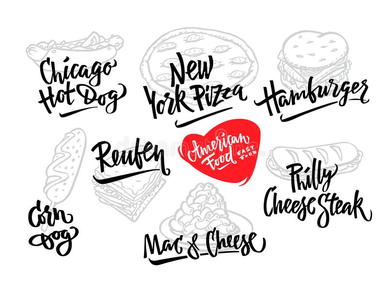 Συρμένο χέρι διανυσματικό σκυλί καλαμποκιού ποικιλιών τροφίμων απεικόνισης δημοφιλές αμερικανικό, χοτ-ντογκ του Σικάγου, χάμπουργ στοκ φωτογραφία με δικαίωμα ελεύθερης χρήσης