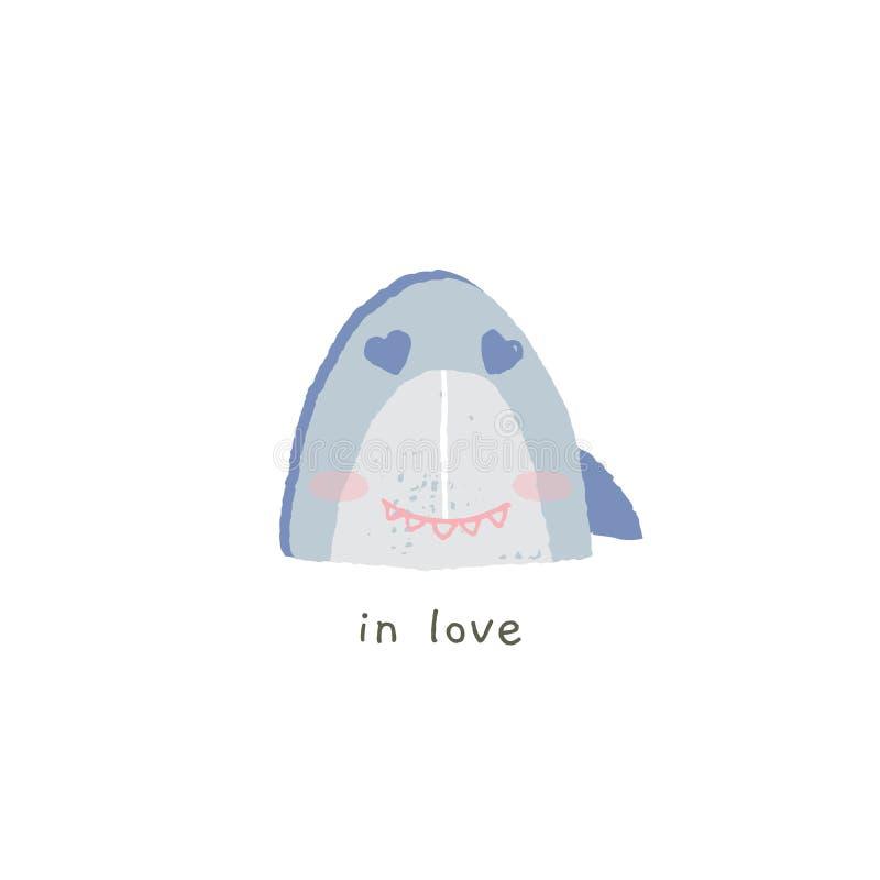 Συρμένο χέρι διανυσματικό emoji Χαριτωμένο χαμόγελο καρχαριών με τις συγκινήσεις βαλεντίνοι αγάπης απεικόνισης ημέρας απεικόνιση αποθεμάτων