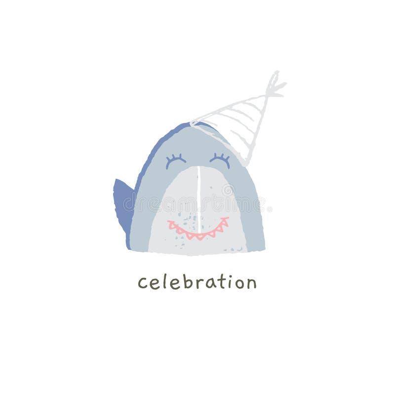 Συρμένο χέρι διανυσματικό emoji Χαριτωμένο χαμόγελο καρχαριών με τις ευτυχείς συγκινήσεις Εορτασμός ελεύθερη απεικόνιση δικαιώματος