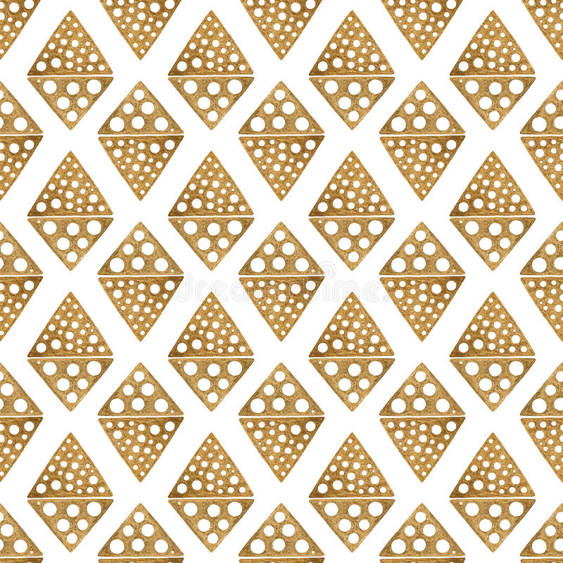Συρμένο χέρι εθνικό σχέδιο Χρυσό άσπρο άνευ ραφής υπόβαθρο Αφηρημένη φυλετική των Αζτέκων απεικόνιση πυραμίδων ρόμβων διανυσματική απεικόνιση