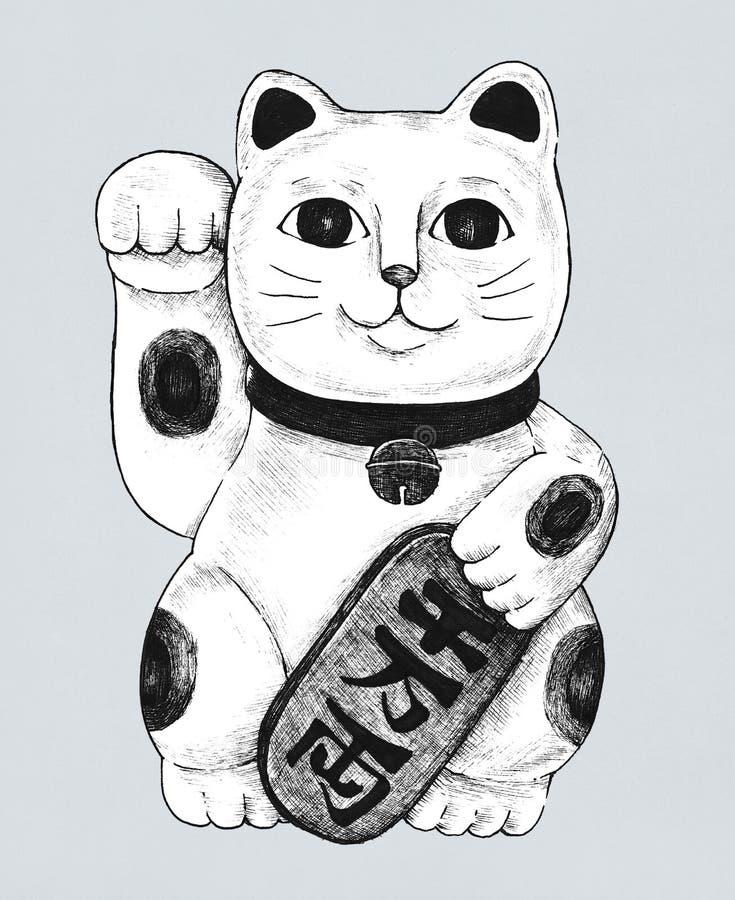 Συρμένο χέρι ειδώλιο neko maneki διανυσματική απεικόνιση