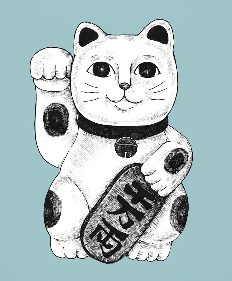 Συρμένο χέρι ειδώλιο neko maneki απεικόνιση αποθεμάτων