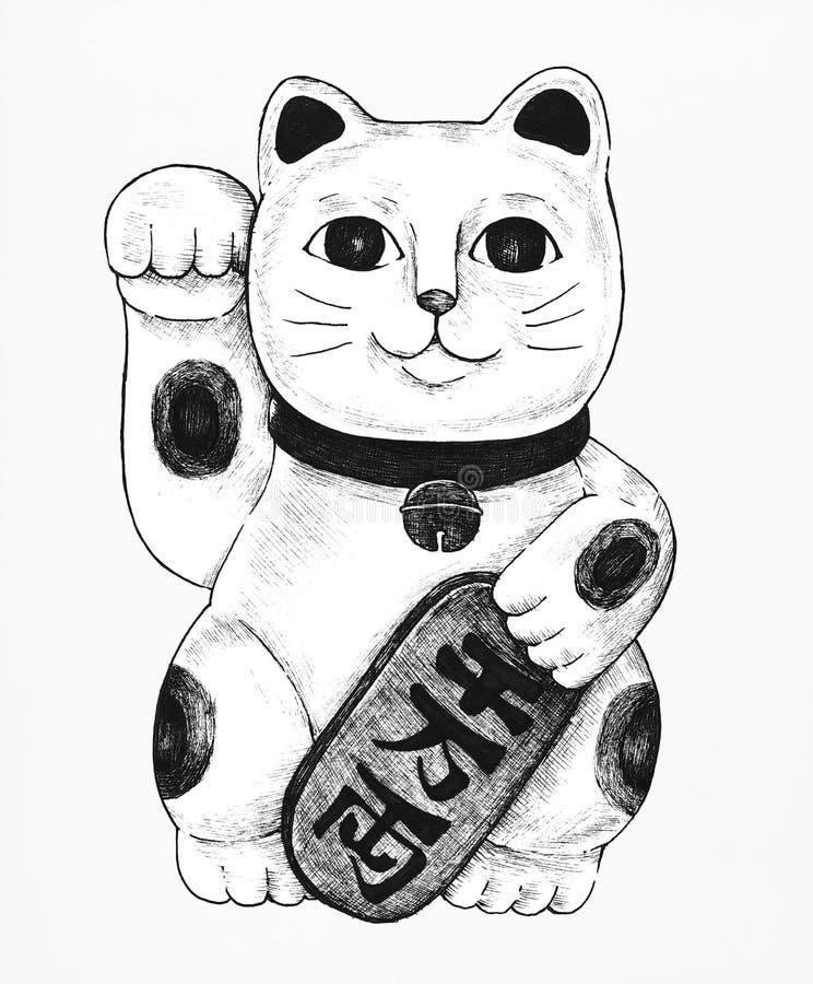 Συρμένο χέρι ειδώλιο neko maneki ελεύθερη απεικόνιση δικαιώματος