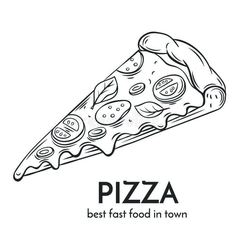 Συρμένο χέρι εικονίδιο πιτσών απεικόνιση αποθεμάτων