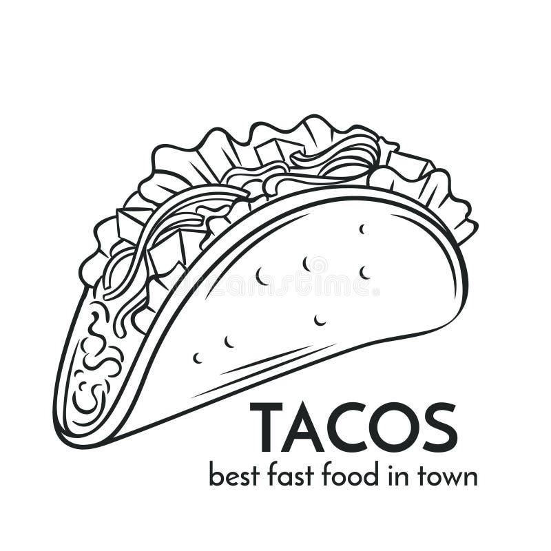 Συρμένο χέρι εικονίδιο tacos διανυσματική απεικόνιση