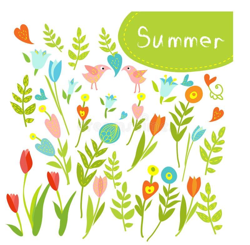 Συρμένο χέρι εκλεκτής ποιότητας floral σύνολο στοιχείων λουλουδιών. απεικόνιση αποθεμάτων