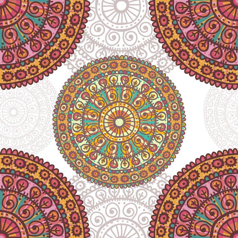 Συρμένο χέρι ετερόκλητο άνευ ραφής σχέδιο mandalas διανυσματική απεικόνιση