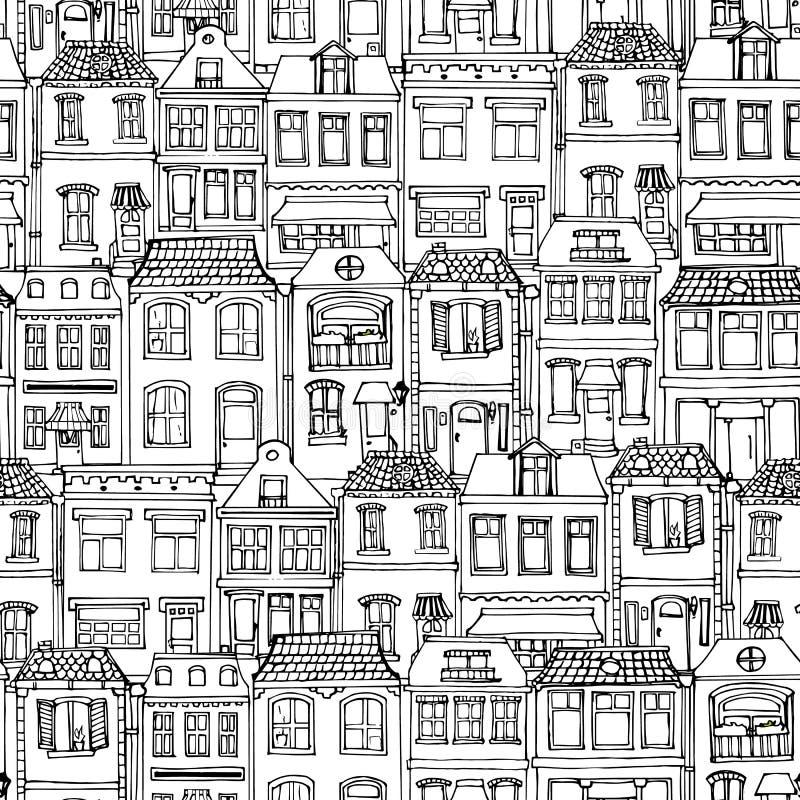 Συρμένο χέρι ευρωπαϊκό άνευ ραφής σχέδιο σπιτιών πόλεων Χαριτωμένη διανυσματική απεικόνιση ύφους κινούμενων σχεδίων Σύγχρονο town απεικόνιση αποθεμάτων