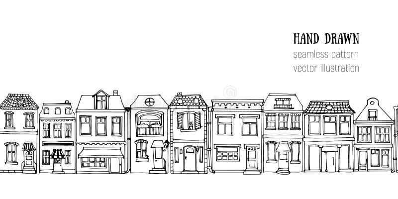 Συρμένο χέρι ευρωπαϊκό οριζόντιο άνευ ραφής σχέδιο σπιτιών πόλεων Χαριτωμένη διανυσματική απεικόνιση ύφους κινούμενων σχεδίων Ζωη απεικόνιση αποθεμάτων