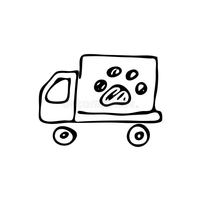 Συρμένο χέρι ζωικό αυτοκίνητο doodle Εικονίδιο κατοικίδιων ζώων σκίτσων Διακόσμηση eleme διανυσματική απεικόνιση