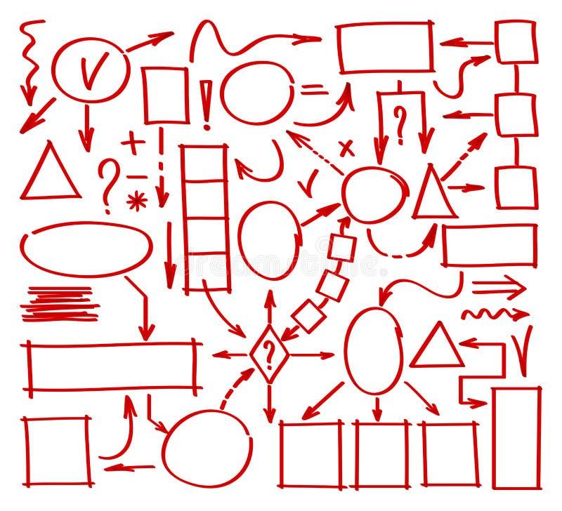 Συρμένο χέρι διάγραμμα δεικτών Στοιχεία χαρτών μυαλού doodle Συρμένος στοιχεία δείκτης για τη δομή και τη διαχείριση κείμενο απει ελεύθερη απεικόνιση δικαιώματος