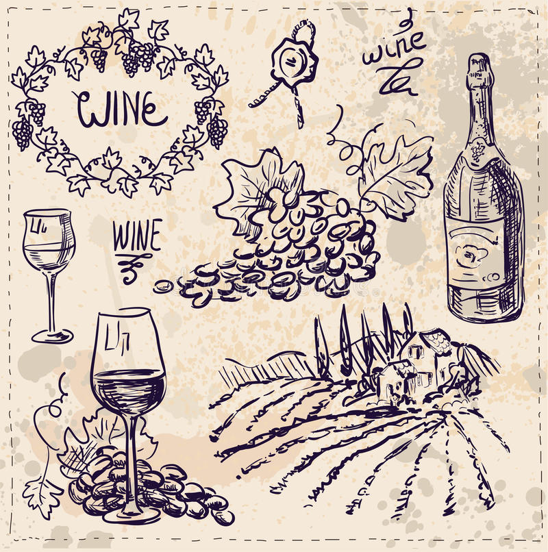 Συρμένο χέρι διάνυσμα καθορισμένο - κρασί και κατασκευή κρασιού απεικόνιση αποθεμάτων