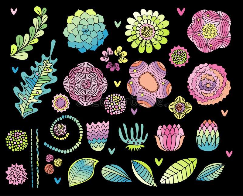 Συρμένο χέρι διάνυσμα λουλουδιών που τίθεται στο μαύρο υπόβαθρο απεικόνιση αποθεμάτων