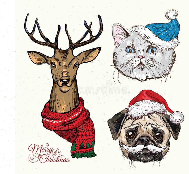 Συρμένο χέρι διάνυσμα της γάτας με τα Χριστούγεννα διανυσματική απεικόνιση