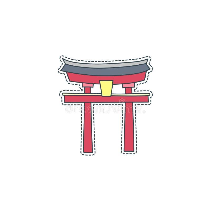Συρμένο χέρι διακριτικό μπαλωμάτων με το σύμβολο της Ιαπωνίας - Itsukushima Αυτοκόλλητη ετικέττα, καρφίτσα και μπάλωμα στο κωμικό απεικόνιση αποθεμάτων