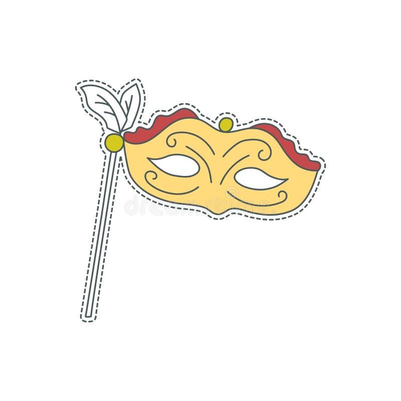 Συρμένο χέρι διακριτικό μπαλωμάτων με το σύμβολο της Ιταλίας - θεατρική μάσκα Αυτοκόλλητη ετικέττα, καρφίτσα και μπάλωμα στο κωμι ελεύθερη απεικόνιση δικαιώματος