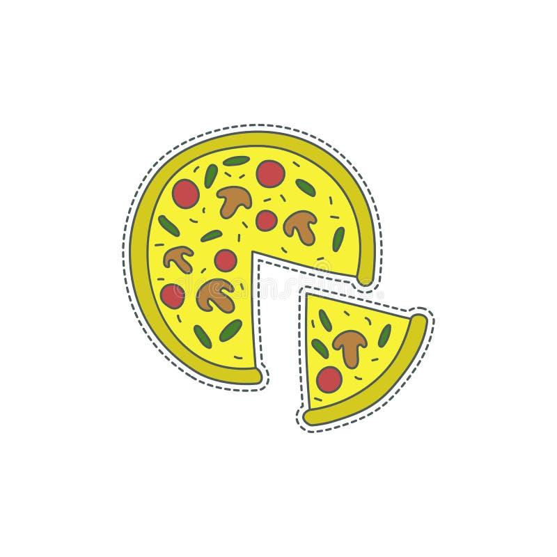 Συρμένο χέρι διακριτικό μπαλωμάτων με το σύμβολο της Ιταλίας - πίτσα Αυτοκόλλητη ετικέττα, καρφίτσα και μπάλωμα στο κωμικό ύφος τ διανυσματική απεικόνιση