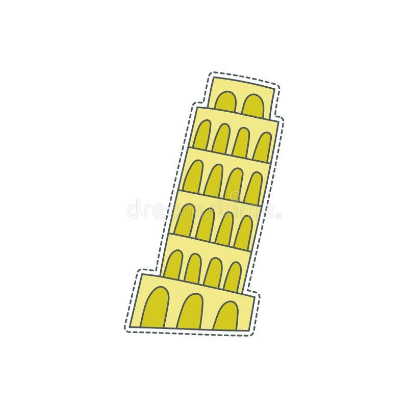 Συρμένο χέρι διακριτικό μπαλωμάτων με το σύμβολο της Ιταλίας - πύργος της Πίζας Αυτοκόλλητη ετικέττα, καρφίτσα και μπάλωμα στο κω ελεύθερη απεικόνιση δικαιώματος