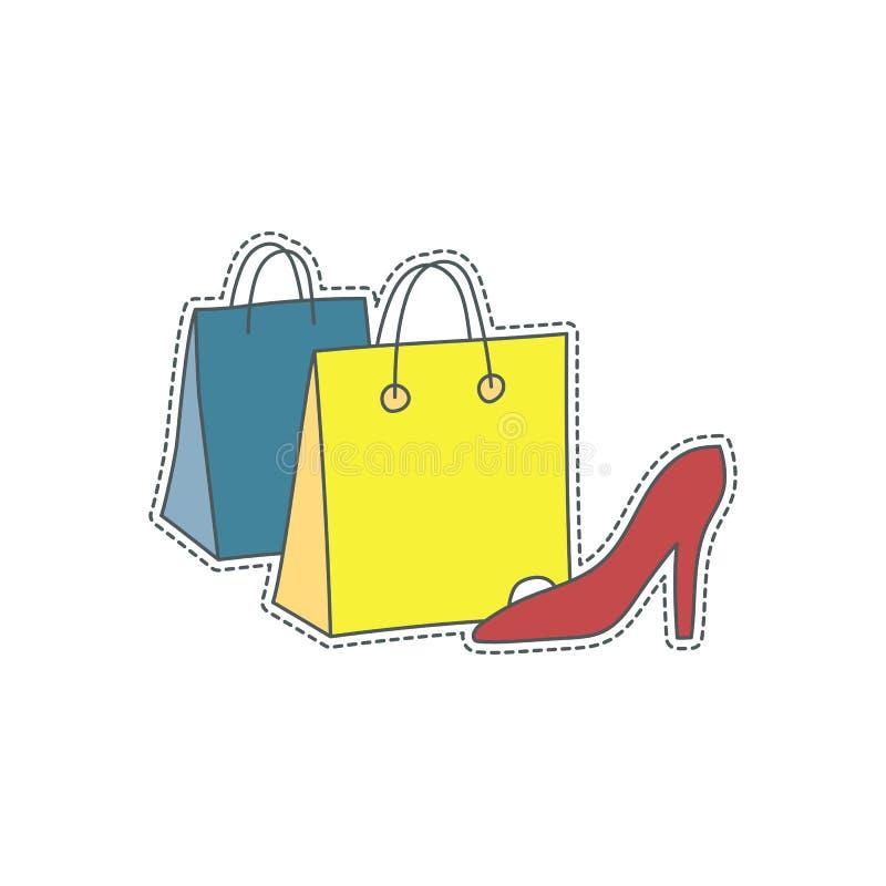 Συρμένο χέρι διακριτικό μπαλωμάτων με το σύμβολο της Ιταλίας - τσάντα αγορών μόδας Αυτοκόλλητη ετικέττα, καρφίτσα και μπάλωμα στο διανυσματική απεικόνιση