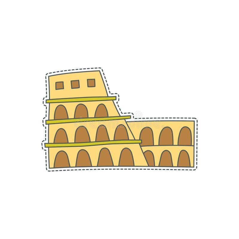 Συρμένο χέρι διακριτικό μπαλωμάτων με το σύμβολο της Ιταλίας - Coliseum Αυτοκόλλητη ετικέττα, καρφίτσα και μπάλωμα στο κωμικό ύφο απεικόνιση αποθεμάτων