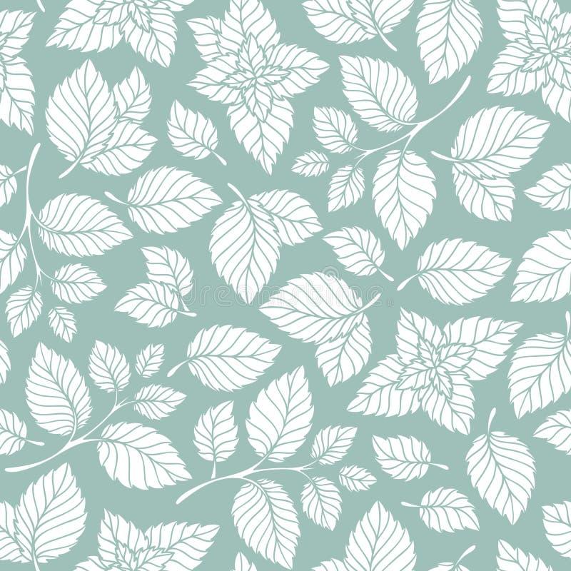 Συρμένο χέρι διανυσματικό άνευ ραφής σχέδιο με τα φύλλα μεντών ελεύθερη απεικόνιση δικαιώματος