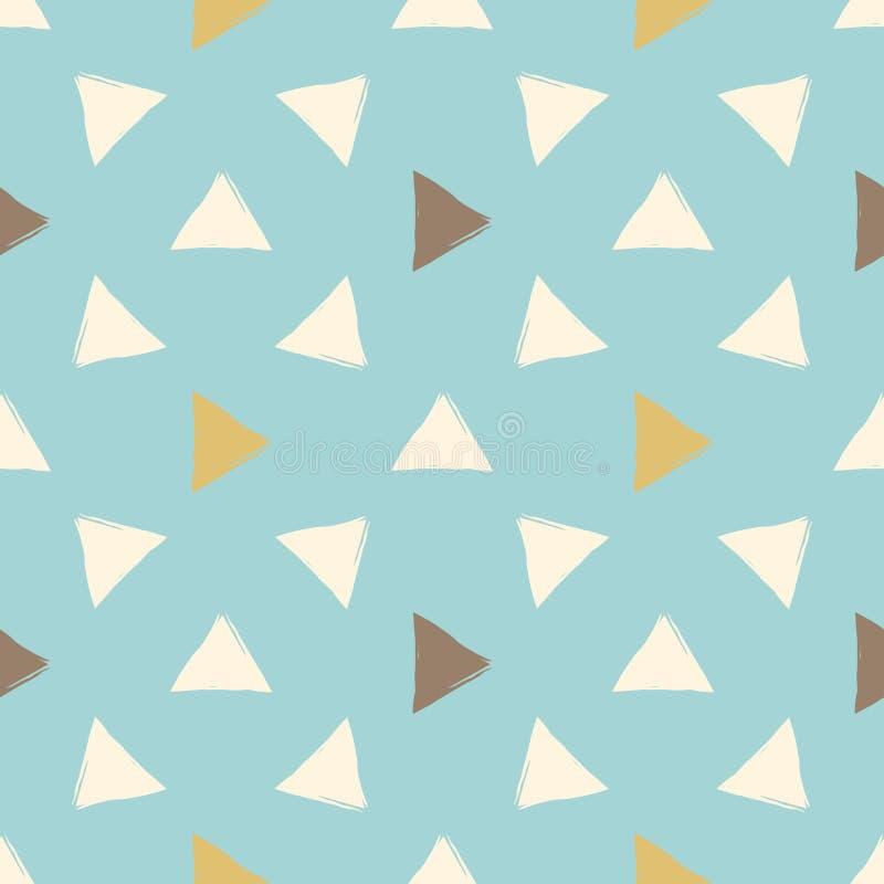 Συρμένο χέρι διανυσματικό άνευ ραφής σχέδιο Πορτοκάλι, braun και τυρκουάζ τρίγωνα Σχέδιο υφάσματος ελεύθερη απεικόνιση δικαιώματος